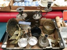 Contents to tray assorted plated and brassware, two stem candelabra,