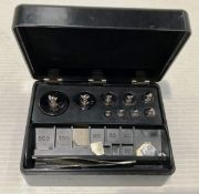 A set of Griffin and George balance scales weights in black bakelite case