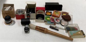 Contents to blue plastic tray small Envoy Developer, enlarging lenses, lenses etc.