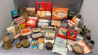 Contents to box - a large collection of vintage Apothecary items - assorted tins,
