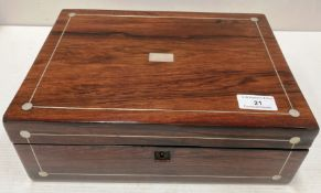 A rosewood box with mother of pearl inlay 30cm x 22cm x 11cm high