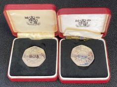 Two 1973 proof 50p coins - boxed