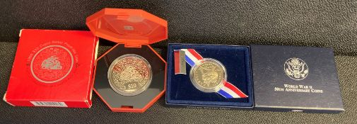 Singapore Proof-like $10 1999 & US 50th anniversary WWII proof half dollar
