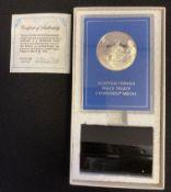 Egyptian Israeli peace treaty silver medal with COA