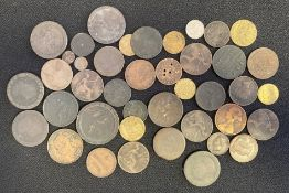 Collection of predominantly British copper and bronze coins & tokens