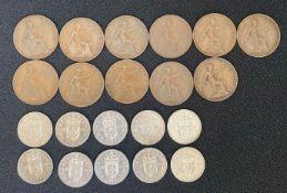 Bag of 11 1918/19 Kings Norton (KN) pennies and bag of scarce 1959 Scottish shillings