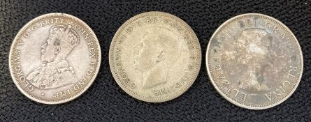 Two silver Australian Florins and Canadian silver 50 cent coin