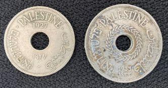 Palestine 10 mils 1927 & 20 mils 1933