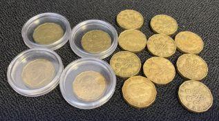 Four high grade threepence coins and a bag of scarce 1946 & 1949 threepences coins