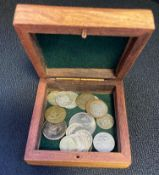 Wooden box with silver coins - some Victorian