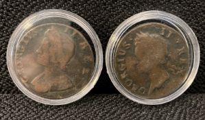 George II 1734 Half penny & George II 1742 Hibernia half penny