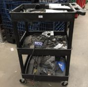 Luxor black plastic 3 tier mobile trolley and contents - assorted washers, bolts, Mastercool clamp,