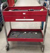 Single drawer 2 tier metal mobile work trolley