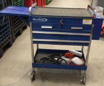 Blue point 4 drawer mobile trolley complete with keys - model KRBC7TBPCM