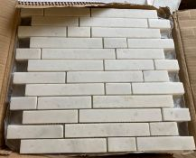 12 x packs of 10 Olympus white linear 1 mosaic brushed tiles - 30.5 x 30.