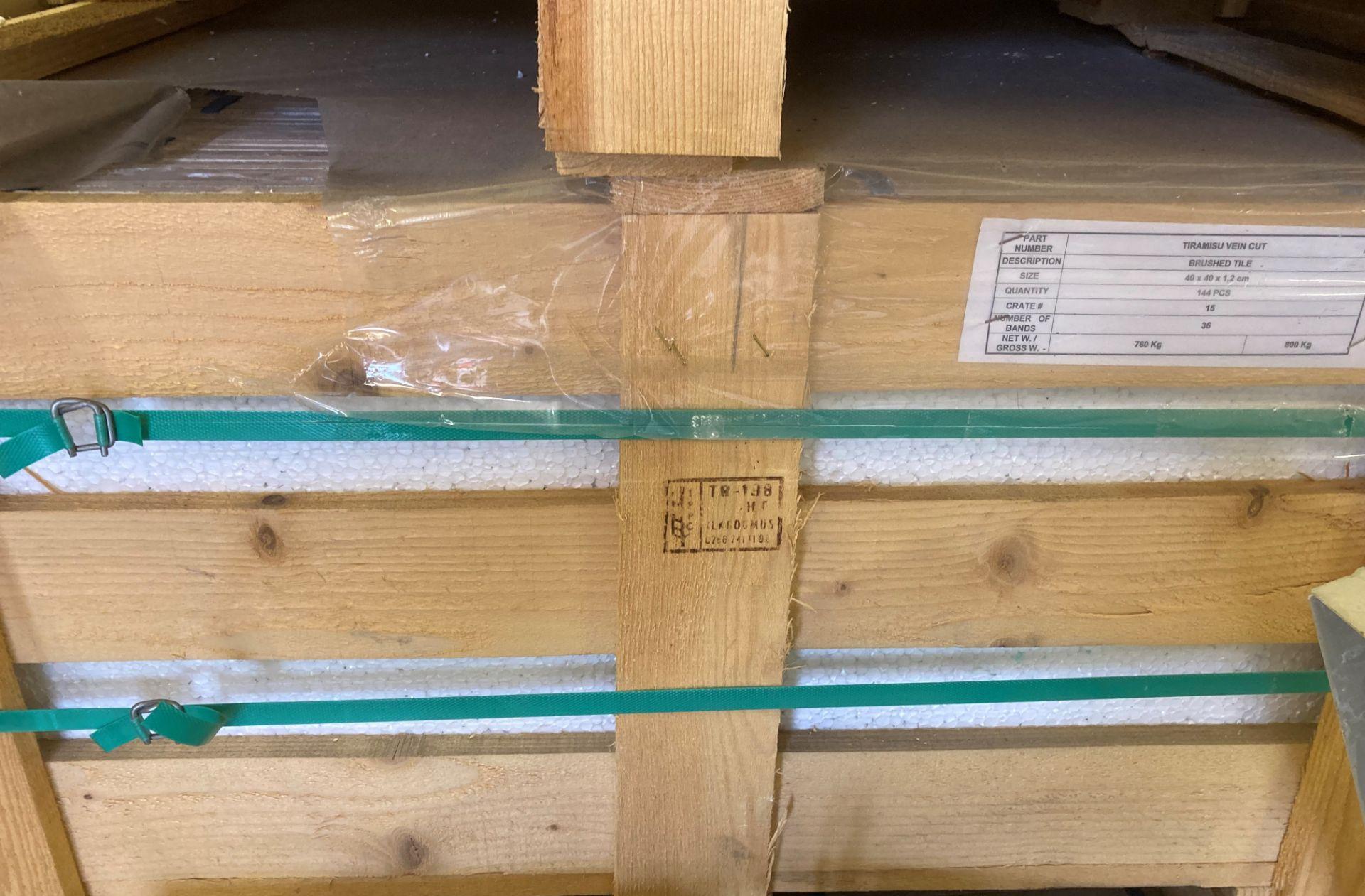 36 x packs of 4 marble tiramisu vein cut brushed tiles - 40 x 40 x 1. - Image 2 of 2