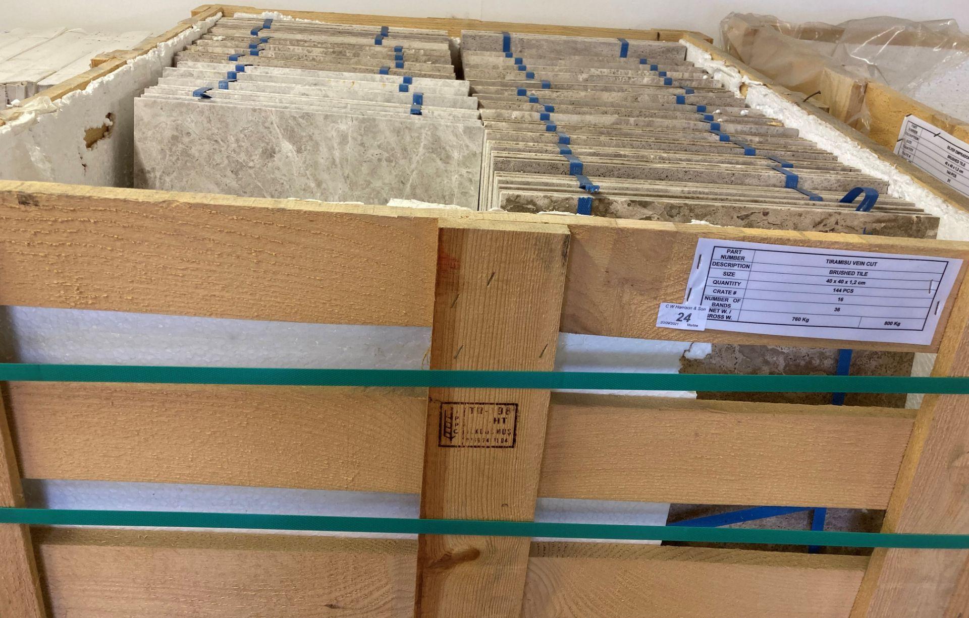 22 x packs of 4 marble tiramisu vein cut brushed tiles - 40 x 40 x 1. - Image 2 of 2