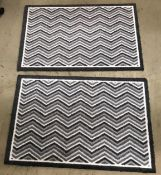 5 x black and white chevron rubber backed mats - 75 x 50cm