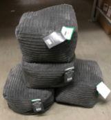 7 x cord bean cubes (grey) - approximately 40 x 40 x 30cm