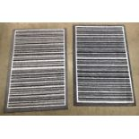 5 x grey and white striped rubber backed mats - 75 x 50cm