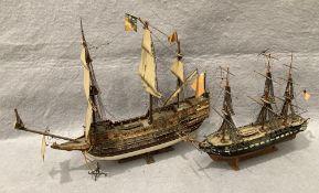 Two plastic model ships, 90cm battle ship by Airfix,