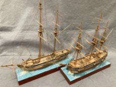 Two assorted wooden model ships, 'Race Horse', 54cm long x 56cm high and a 12 gun ship, no name,