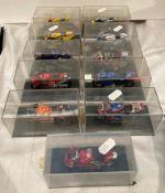 Eleven assorted cased model racing motorbikes - Honda NSR500 Alex Criville 1999,