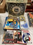 Nostalgic Art Harley Davidson wall clock, Leatherman Micra, Trivial Pursuit game,