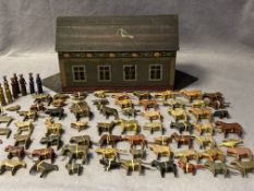 A German Noah's Ark (possibly 1920s) with lift up lid containing sixty-three pairs of animals,