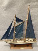 'T S Eendraght' wooden model ship on base,