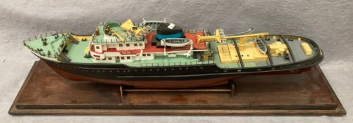 'Zwarte Zee' Rotterdam, a large wooden ship on stand (damage to both masts but re-attachable),