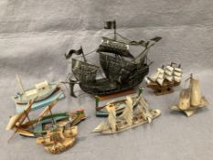 Eight assorted model hand made boats and ships