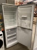 A Beko Frost Free 'A' Class tall upright fridge freezer with water dispense in grey