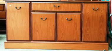A light wood finish four door single drawer sideboard 155 x 80cm high