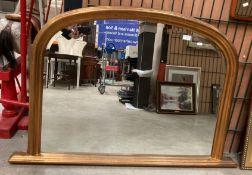 A gilt framed arch top over mantel mirror 80 x 100cm