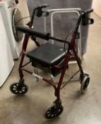 A red metal four wheel mobility walking aid and a grey metal two wheel mobility walking aid (2)