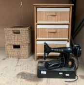 A Singer 99K portable sewing machine (flex cut off - not tested),