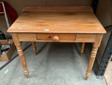 A pine single drawer side table 88 x 52cm