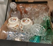Contents to box - assorted glass ware including decanter with silver collar, vase, glasses,