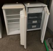 Two items - a HotPoint Iced Diamond under counter freezer and a Proline under counter fridge