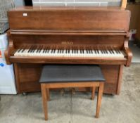 A Bentley 86346 iron framed upright piano in walnut Art Deco style case 134cm together with a