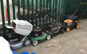 Four various petrol lawn mowers by Masport, Mow Master, Trojan and McCulloch - all non-runners,