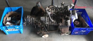 Imp Super (1975) (mainly) engine parts: Engine and gearbox, with carburettor, water pump, radiator,