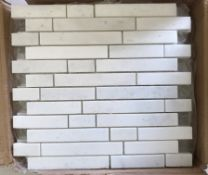Eleven packs of ten Olympus white linear one mosaic brushed tiles, each tile 30.5cm x 30.