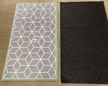 10 x grey patterned green edged rubber backed mats - 65 x 120cm