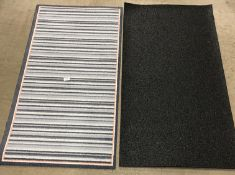 8 x grey striped pink edged rubber backed mats - 65 x 120cm