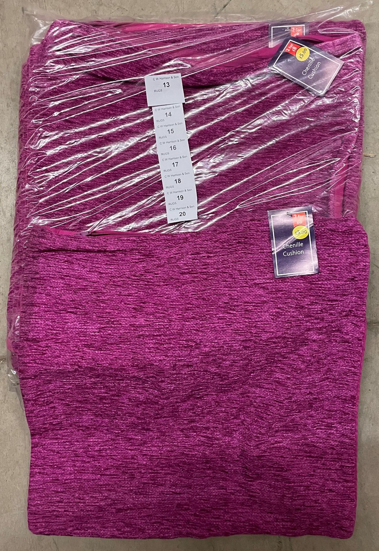 50 x Chenille cushion covers - plum - in packs of 10 (5 outer packs)