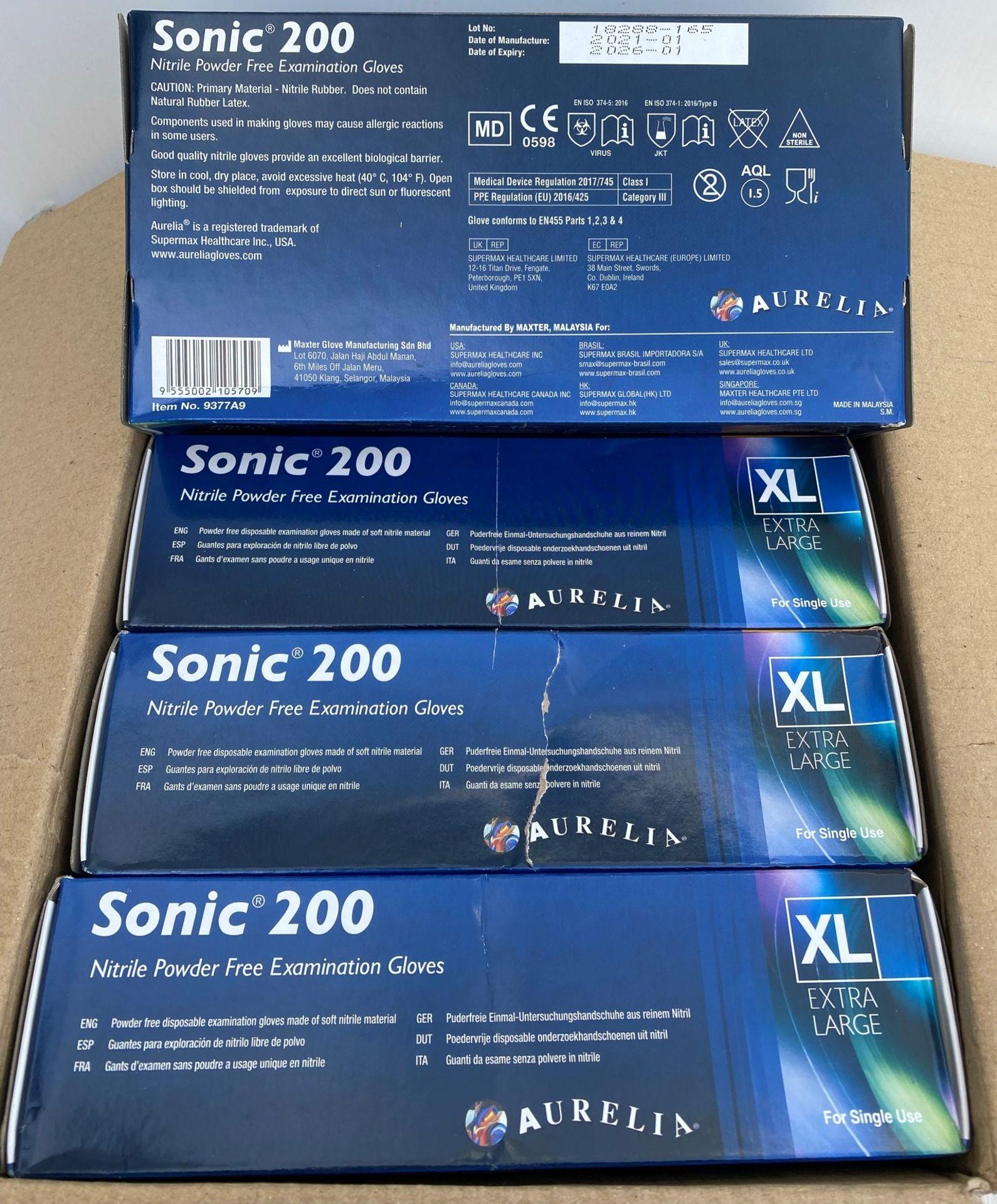 10 x boxes of 200 x Aurelia Sonic 200 Nitrile Powder Free Examination Gloves - Size Extra Large - - Image 2 of 2