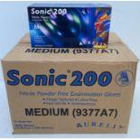 10 x boxes of 200 x Aurelia Sonic 200 Nitrile Powder Free Examination Gloves - Size Medium - Expiry