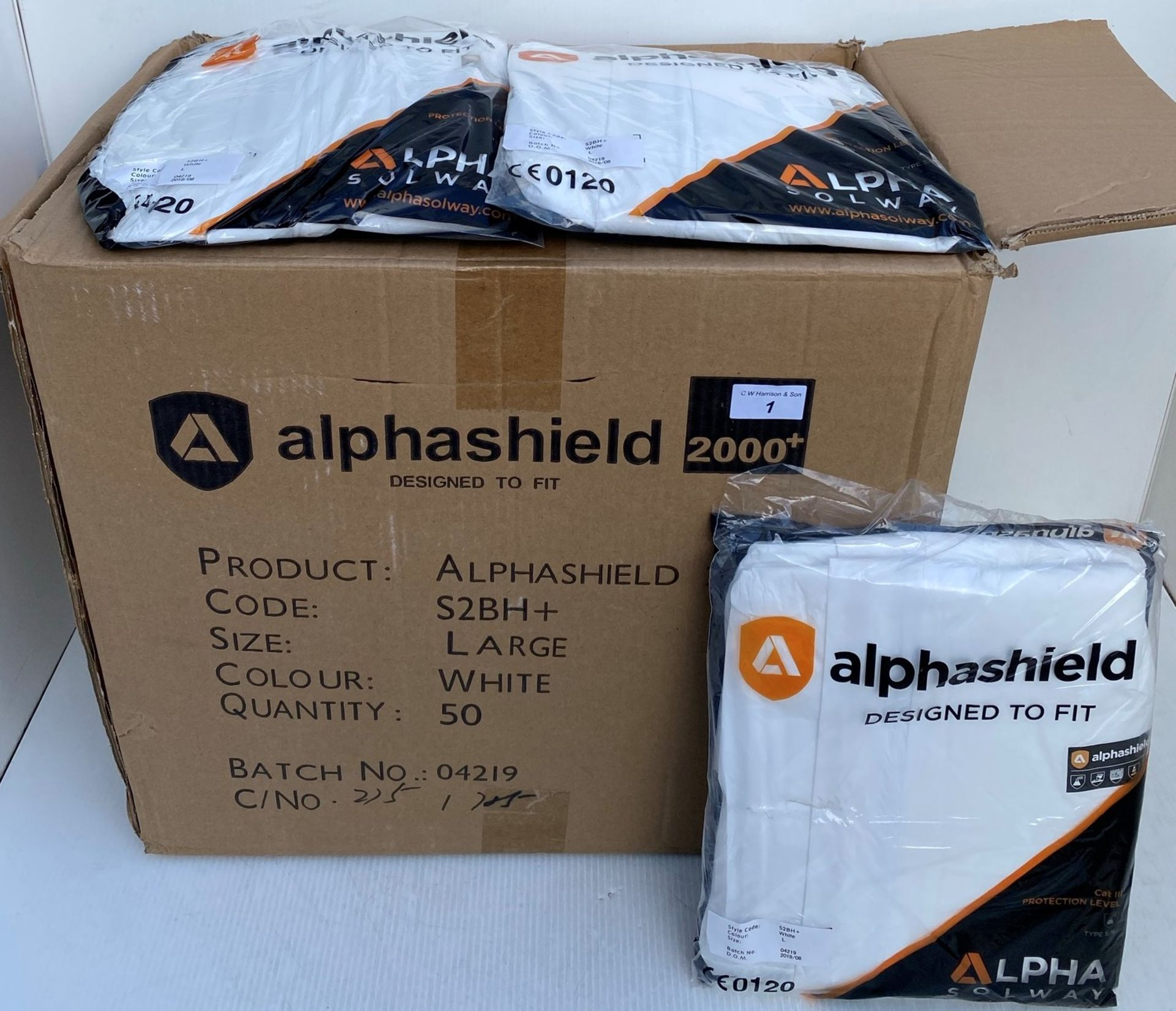 50 x Alpha Solway - Alphashield 2000+ protective S2BH+ white oversuits - Assorted sizes, - Image 2 of 3